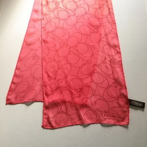 COACH Ombre Silk Log Scarf in Coral Logo